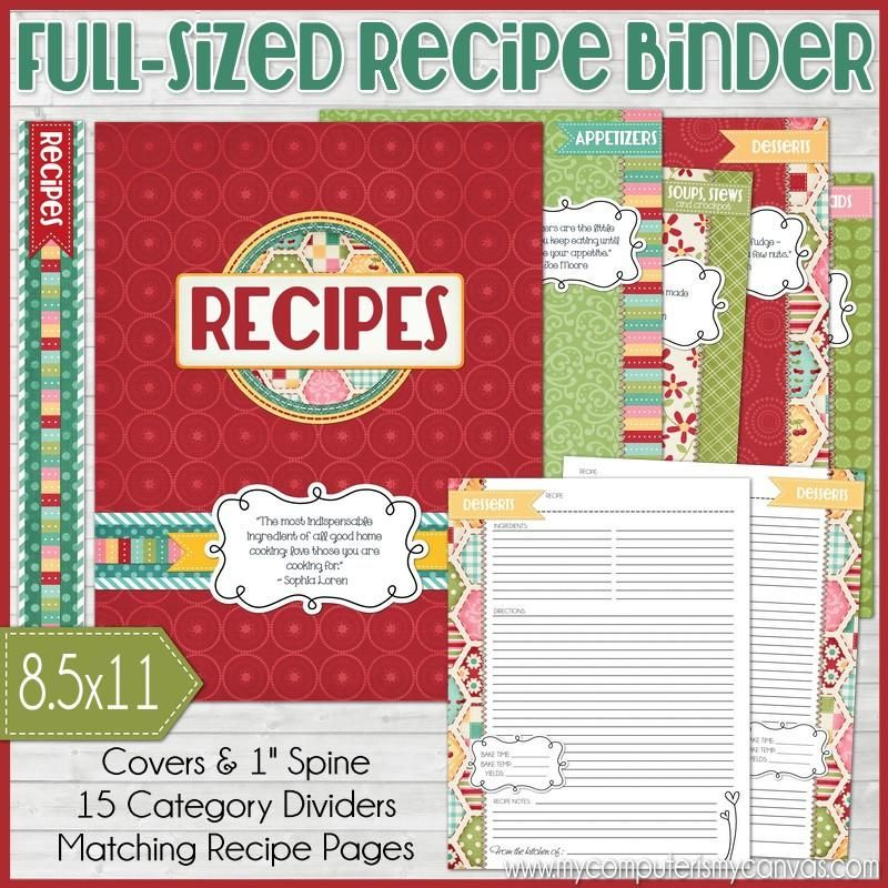 Recipe Binder Kit RED {Full Size 8.5x11} PRINTABLE (With