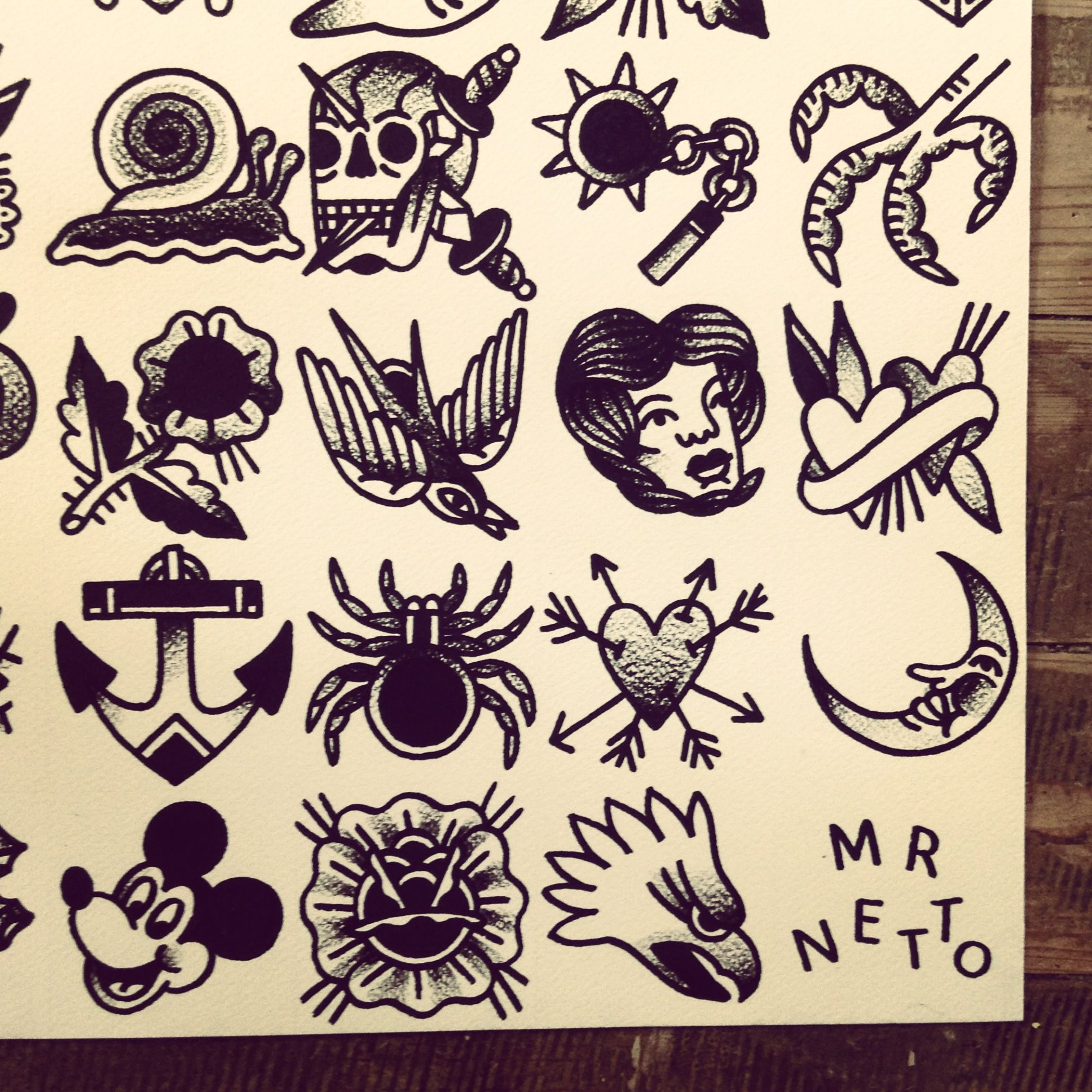 Tattoo Flash By Mr Levi Netto All Designs Are 7 X 7 Cm 35 Tip