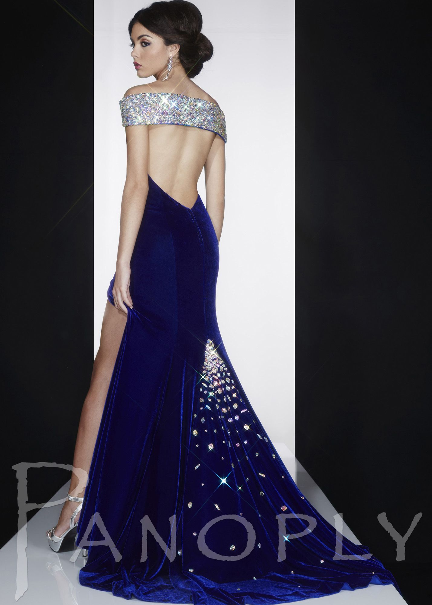 61d2b3862ce0 Panoply 14593V Gorgeous Off the Shoulder Royal Blue Velvet Gown with an  Open Back