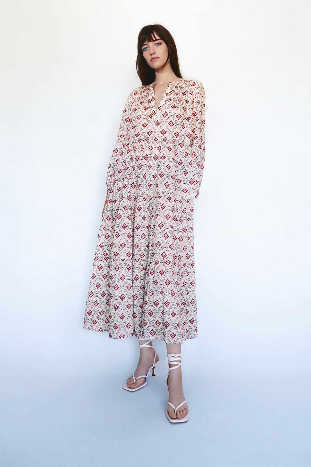 voluminous printed dress | zara united states | ドレス