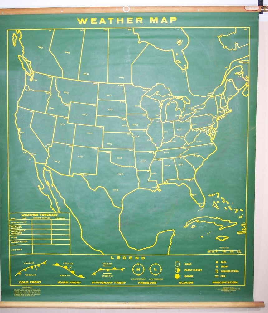 Weather Map Of America.Weather Map North America Green Blackboard Map Only Erasable