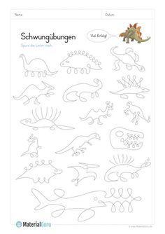 ein kostenloses arbeitsblatt mit schwungübungen in verbindung mit dinosauriern. jetzt kostenlos
