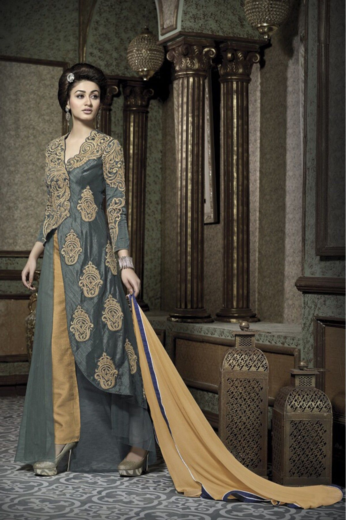 0427451808 Grey Colour Banarasi Silk Fabric Party Wear Semi Stitched Pant Style Comes  With Matching Bottom and Dupatta. This Suit Is Crafted With Embroidery,Zari  Work ...
