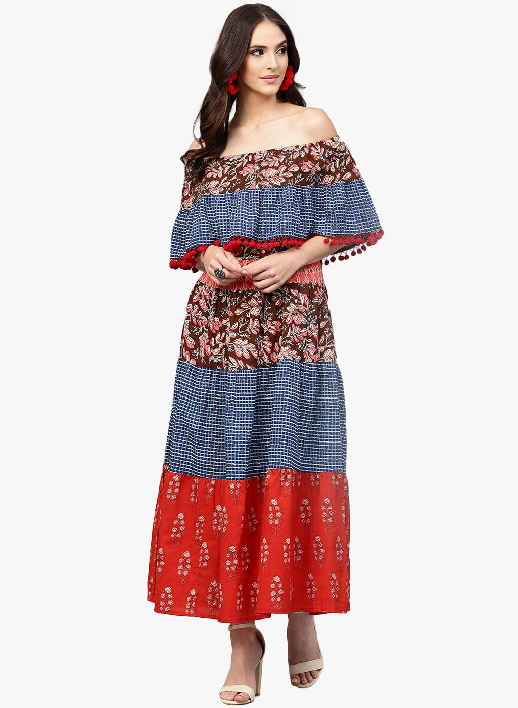 797dd2df4b56 Aks Multicolored Printed Off Shoulder Flared Maxi Kurta  Printed   Offshoulder  Flared  Maxi  Kurta