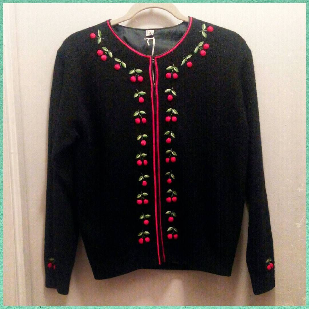 1950s lined black wool cardigan sweater with cherry design, L ...