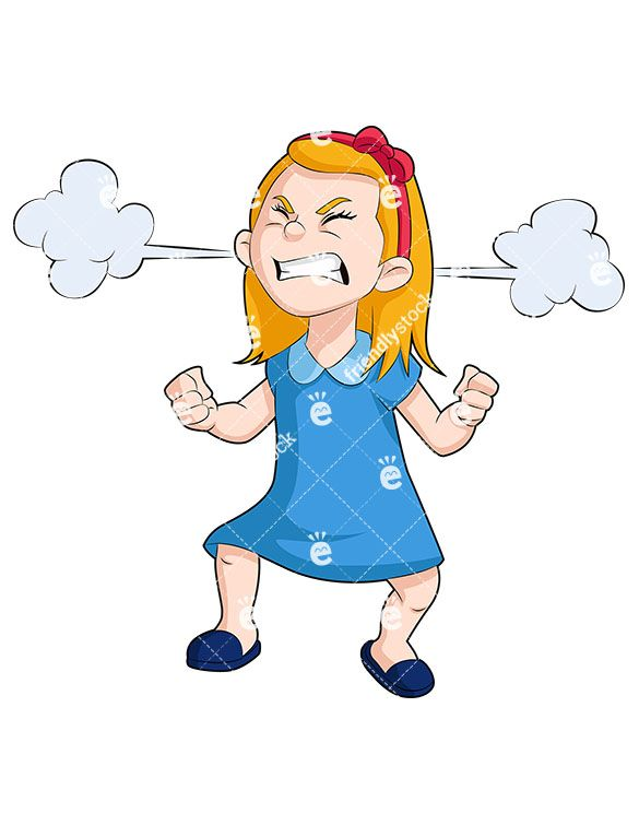 angry little girl with steam clouds cartoon vector clipart kids rh pinterest com