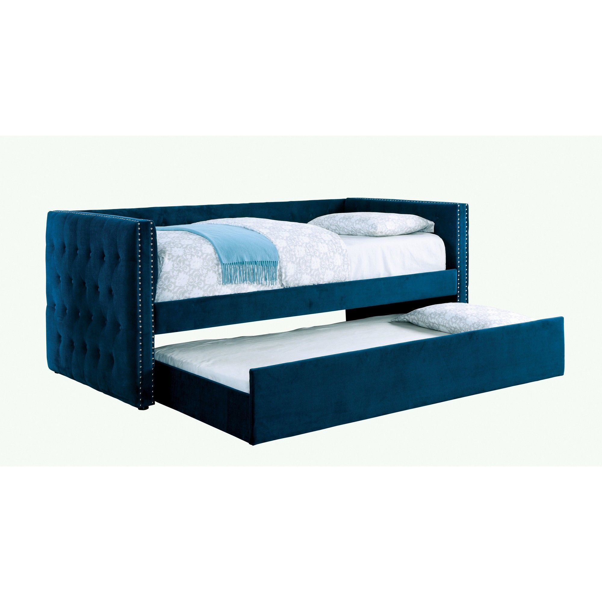 Twin Anton Upholstered Daybed Navy Mibasics Daybed With Trundle Furniture Of America Upholstered Daybed