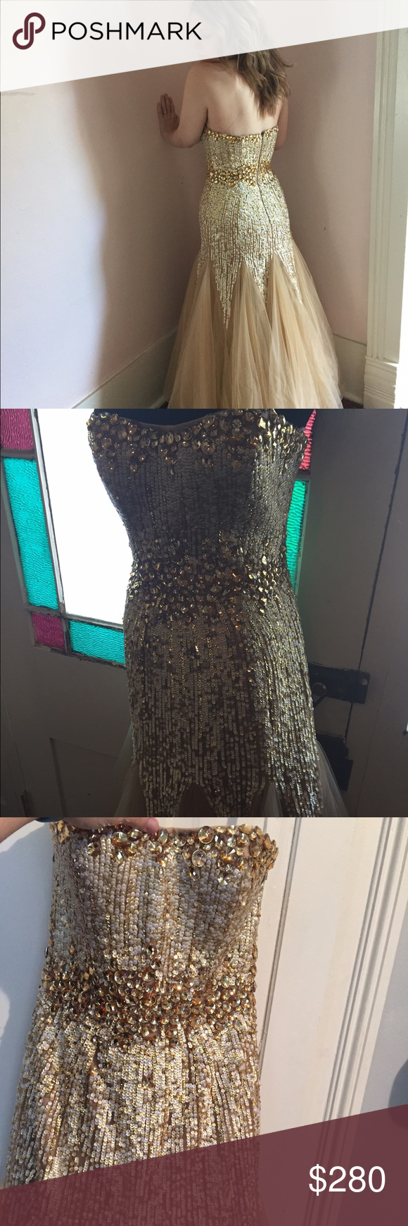 Sherri hill prom dress formal gown size gorgeous gold cream