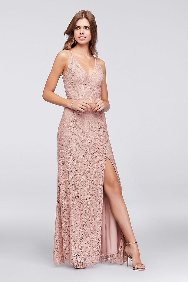 Princess-Seam Crochet Lace V-Neck Blush Sheath Prom Dress from ...