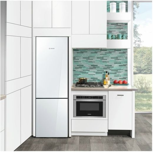 B10cb80nvw Bosch 800 Series 24 Counter Depth Bottom Freezer Refrigerator White Glass Small Kitchen Bottom Freezer Freestanding Fridge