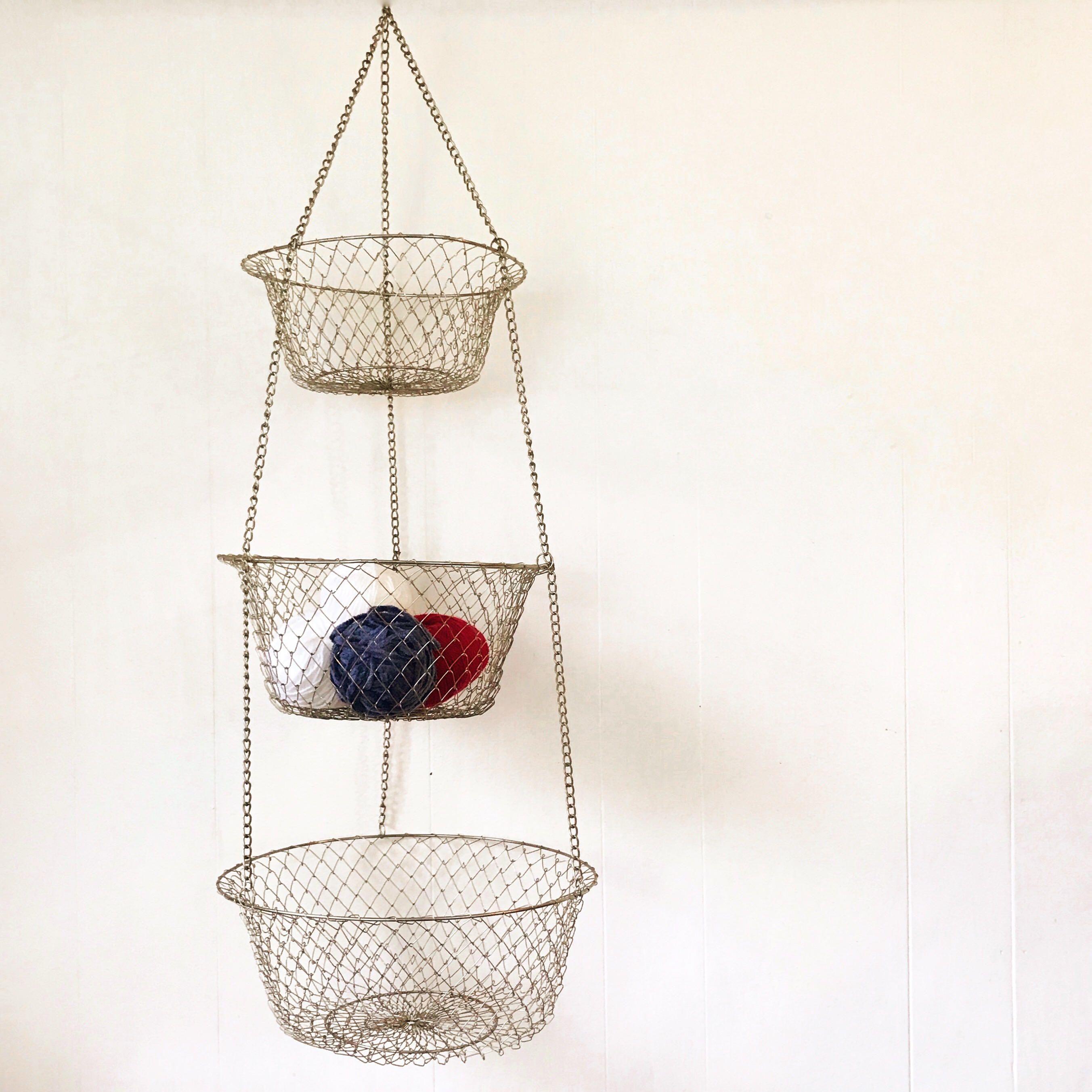 Awesome Vintage Wire Hanging Basket   Fruit Vegetable   Brass Kitchen Food Storage