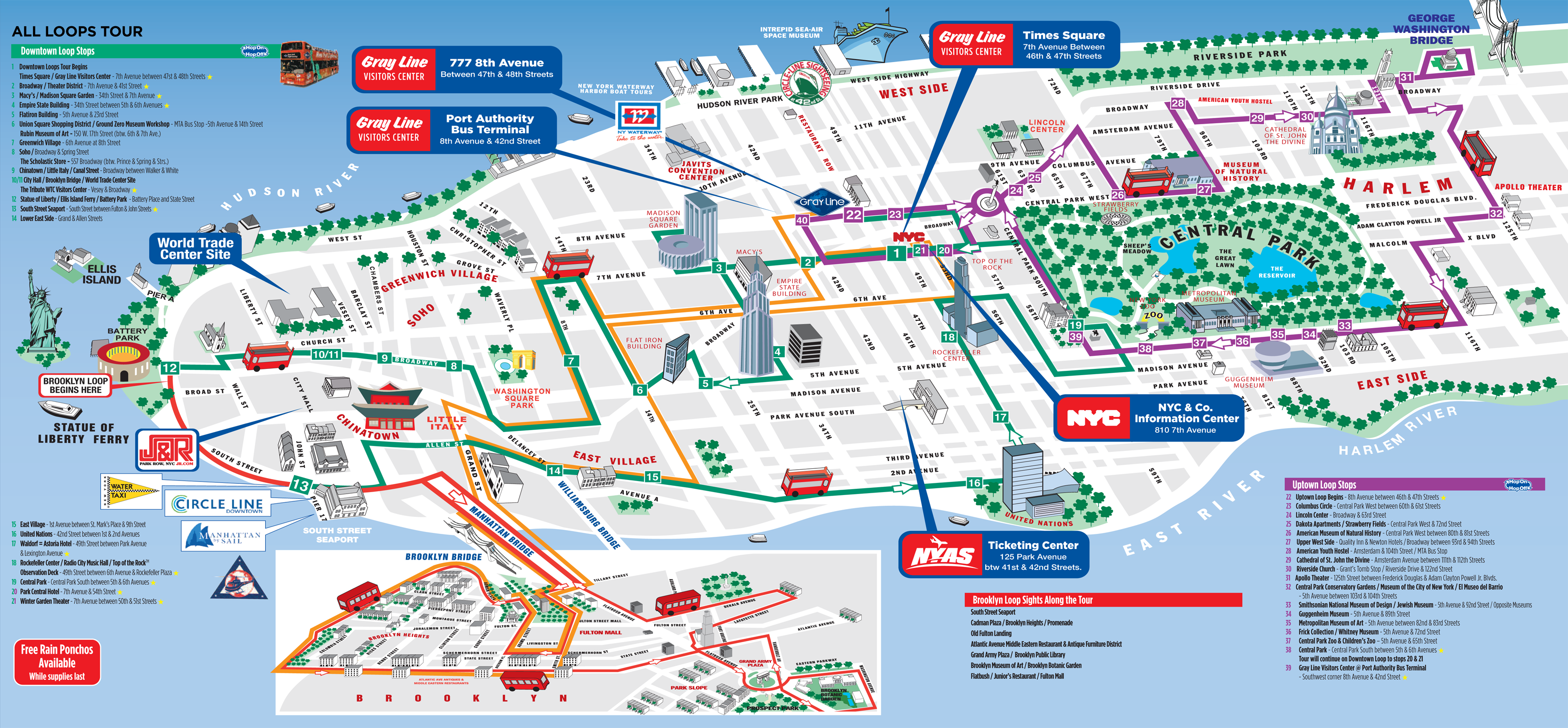 Map of New York, Manhattan tourist sights and attractions ...