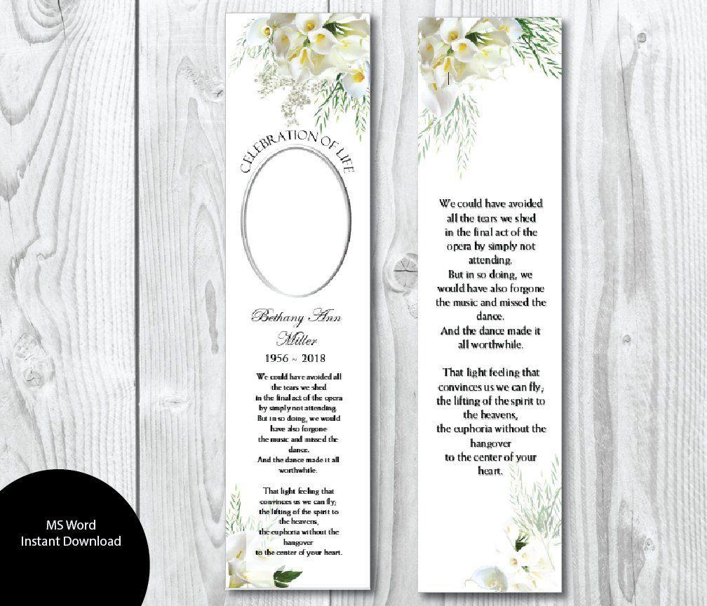 Diy Calla Lily Flowers Funeral Bookmark Template Memorial