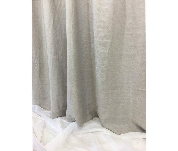 Coin Grey Shower Curtain Light Gray Natural Linen Shower Curtain 72x72 72x85 72x94 Or Custom Size Mildew Free Gray Shower Curtains Curtains Grey Linen Curtains