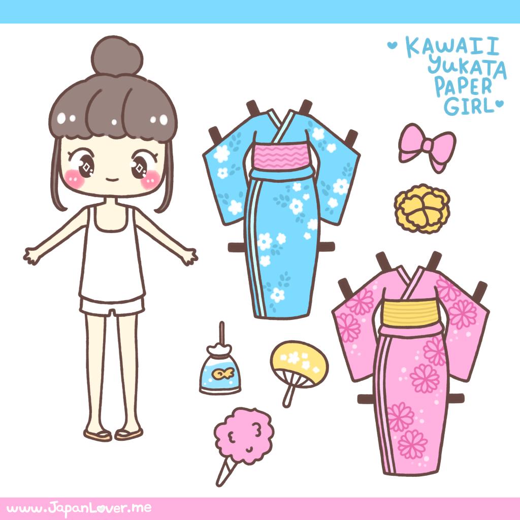 Kawaii Yukata Girl Paper Doll By Japanlover