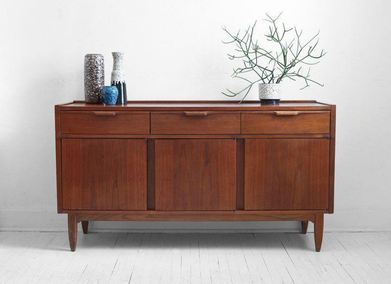 Credenza Rustica Vintage : Vintage teak credenza mid century modern wood buffet cabinet