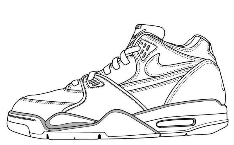 Nike Shoes Coloring and Sketch Drawing Pages - Coloring Pages