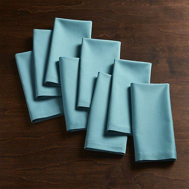 Feteaquacottonnapkins8shs16 Blue Cloth Napkins White Cloth Napkin Blue Napkins