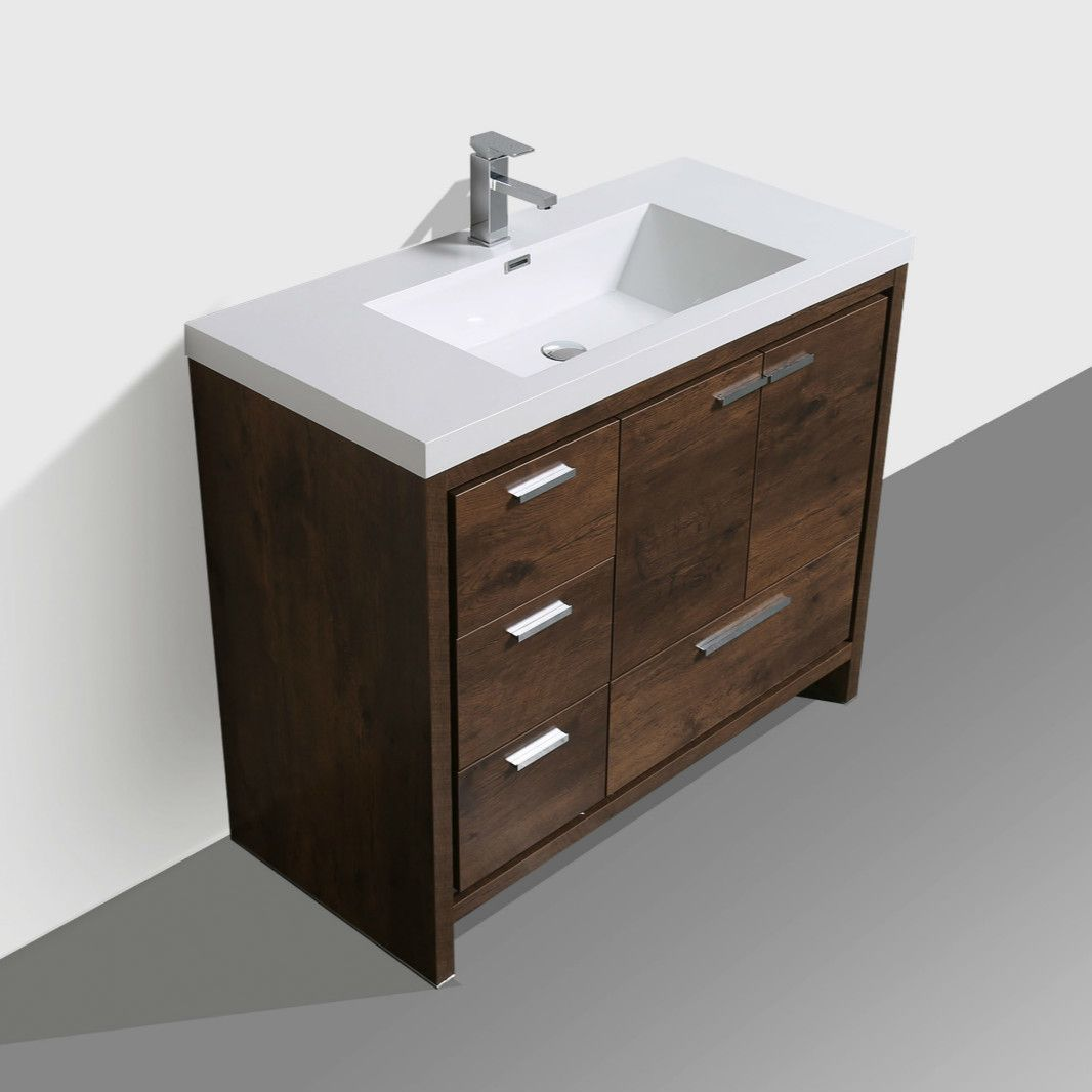 Terrific Mod 42 Rosewood Modern Bathroom Vanity W Left Side Drawers Download Free Architecture Designs Boapuretrmadebymaigaardcom