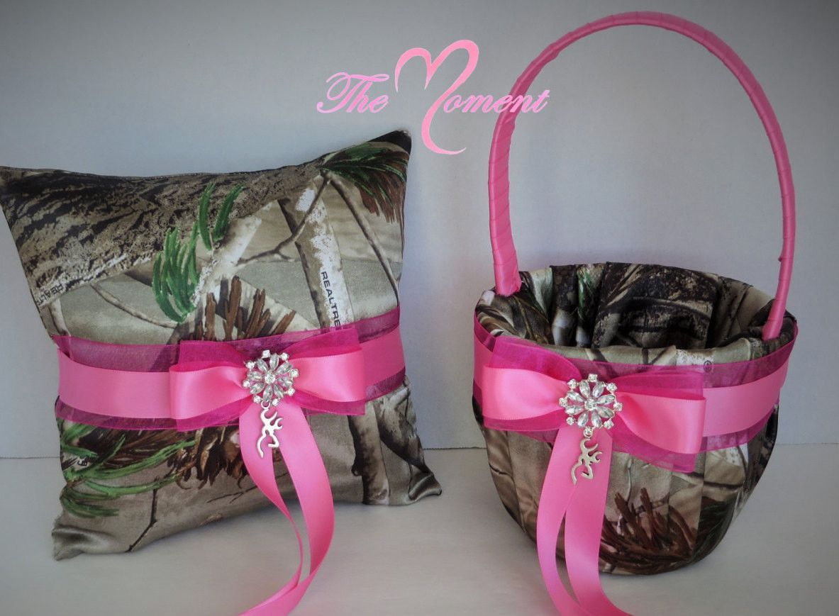Realtree Apg Camo With Pink Flower Girl Basket And Pillow Camo
