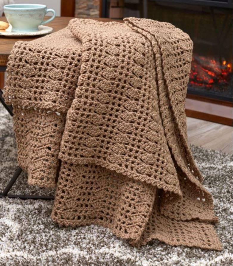 Classically Simple Shell Crochet Throw Patterns And Lapghans