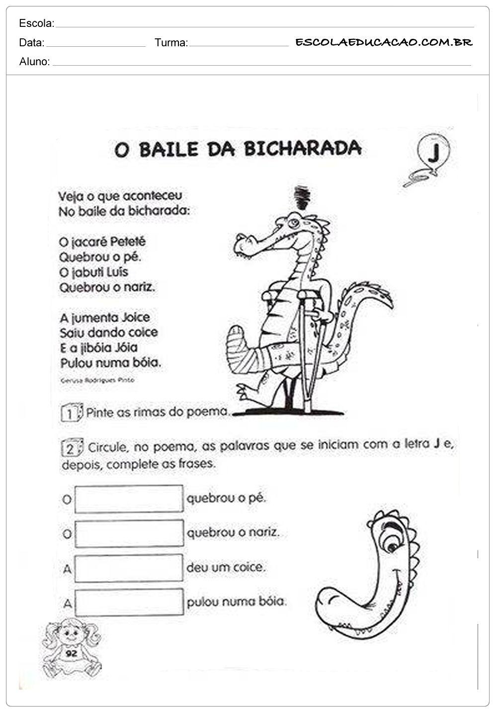 Baile Da Bicharada Atividade De Portugues Ensino Fundamental