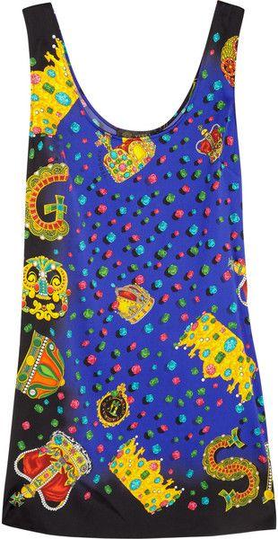 Versace Jewel-Print Stretch Silk Satin Mini Dress