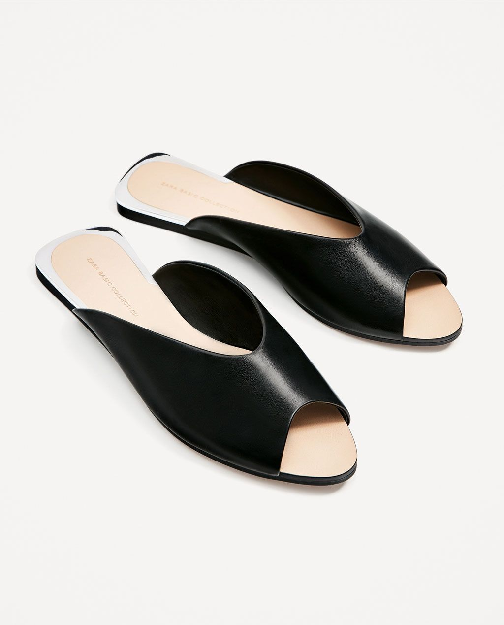 6834e0140b V-CUT LEATHER SLIDES-Flat sandals-SHOES-WOMAN | ZARA United States ...