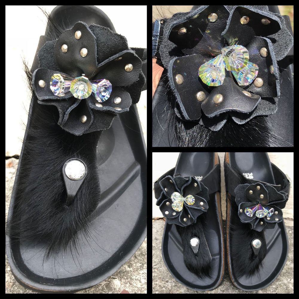 Floral Black Flip Flops //w Swarovoski Crystals Crystal Flowers Med Heel