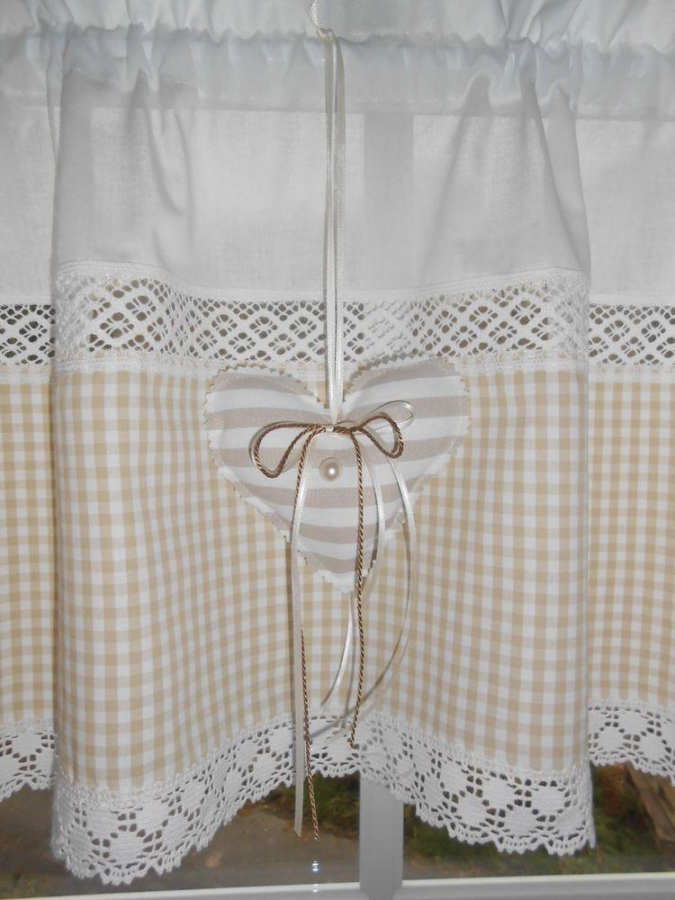 landhausgardine scheibengardine beige wei vichy karo herzchen shabby nr 45 in m bel wohnen. Black Bedroom Furniture Sets. Home Design Ideas