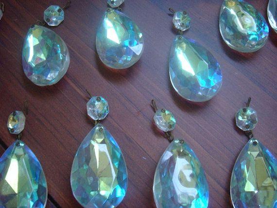 Vintage chandelier crystal prisms clear iridescent ab aurora vintage chandelier crystal prisms clear ab aurora borealis set of four vintage crystal chandelier homedecor 1200 aloadofball Choice Image