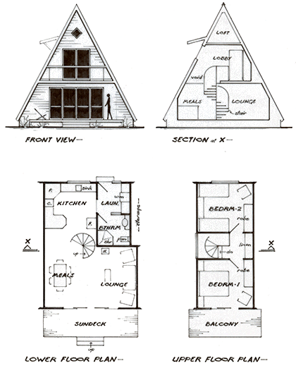 Plan For An A Frame Cottage Beachcottages A Frame Cabin Plans A Frame House Plans Cottage Plan