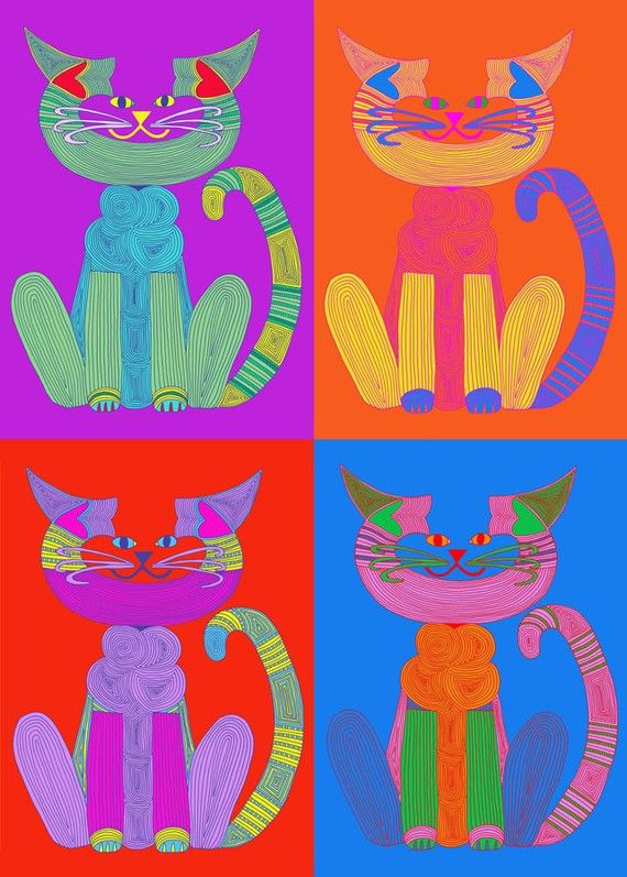 Cat Illustration- Cat Lover- Cat Art- Crazy Cat Lady- Cat Print- Cat Decor- Cat Wall Art- Cat Art Print- Andy Warhol C-Cat by beckyzimm    In the
