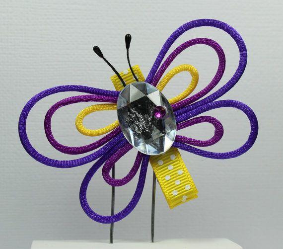 Purple Butterfly Clip Pansy Flower Hairpin by ThreeLittleHams