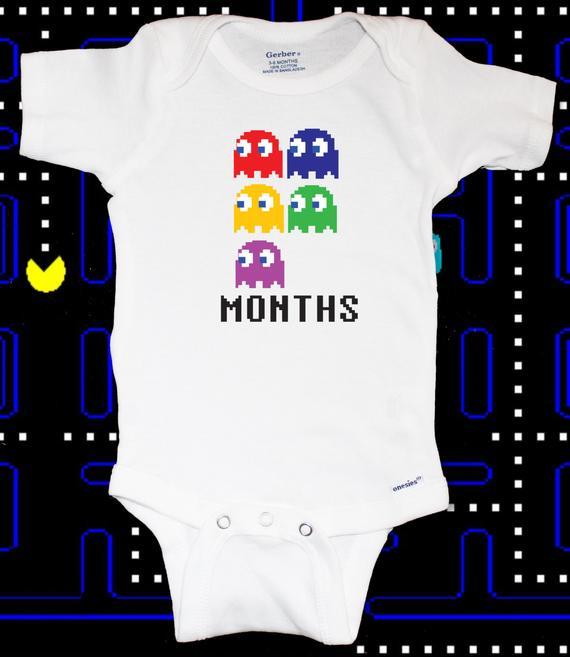 90bf6ea53 Pac-man Monthly Gamer Baby Onesie Set