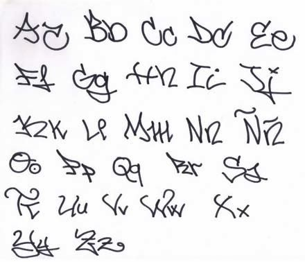 Fancy Handwriting Alphabet