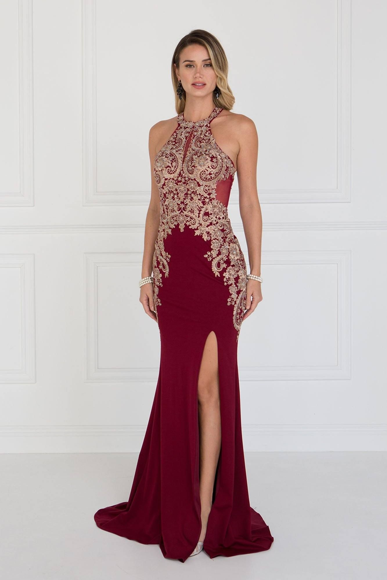 Burgundy fitted prom dress with slit gls b products