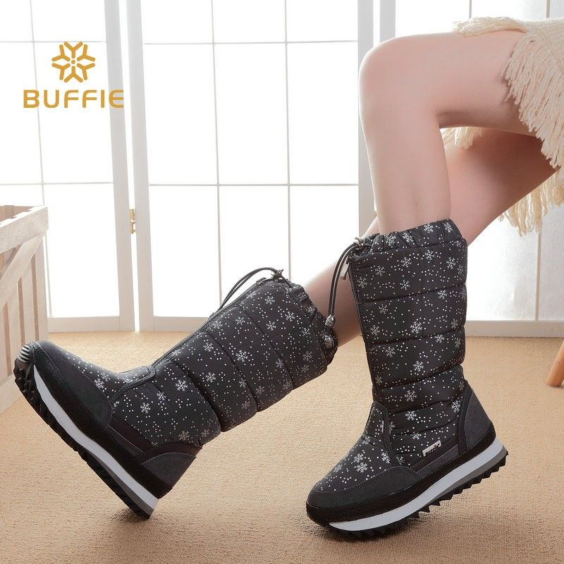 Brand buffie new warm fur antiskid waterproof grey colour hot style  children and women s snow boots plus size 35 to 42 efeeaae8b279