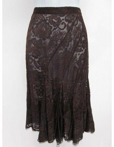 NWT Dolce Gabbana Brown Sheer Lace Knee Length Flamenco Skirt SZ 40 | eBay