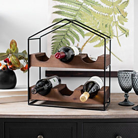 Black Metal And Wood House Frame Wine Rack In 2020 House In The Woods Table Top Display Wood Slats