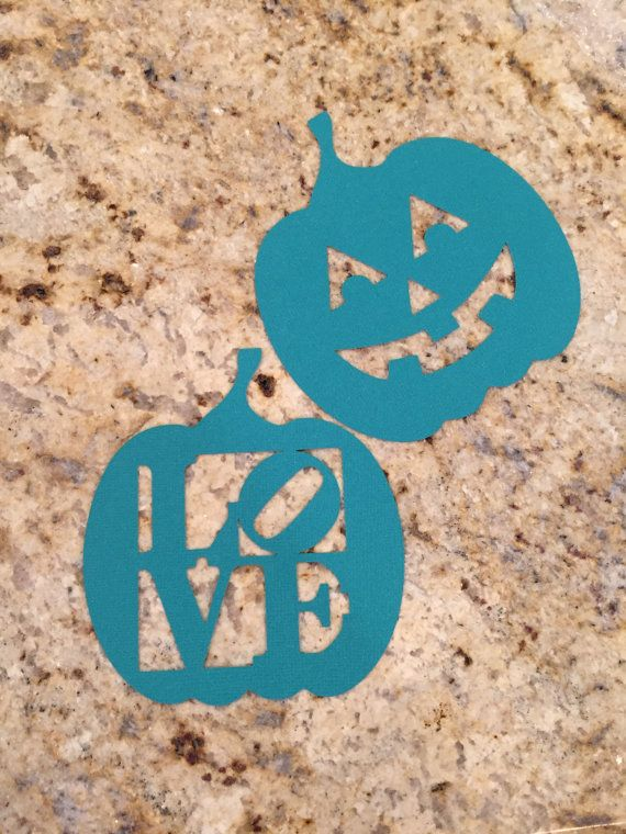 Three 3 Self-Adhesive Vinyl Teal Pumpkin for the by MeticulousArt