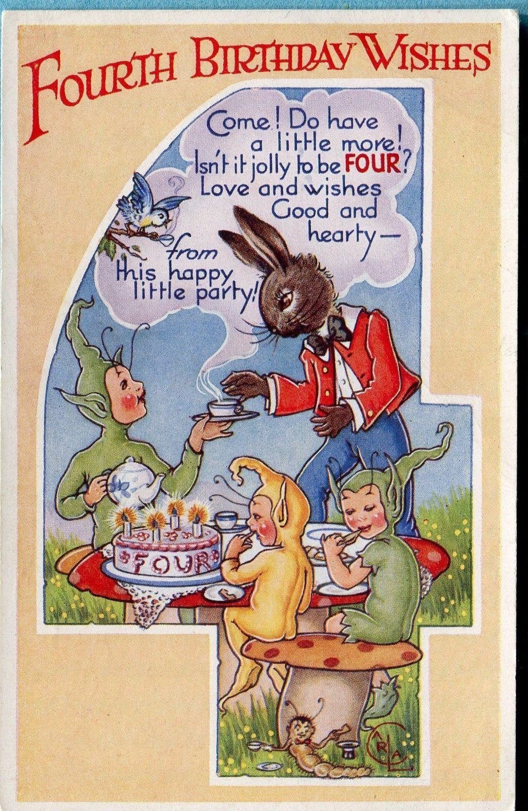vintage card signed 'carla'  ebay  fourth birthday
