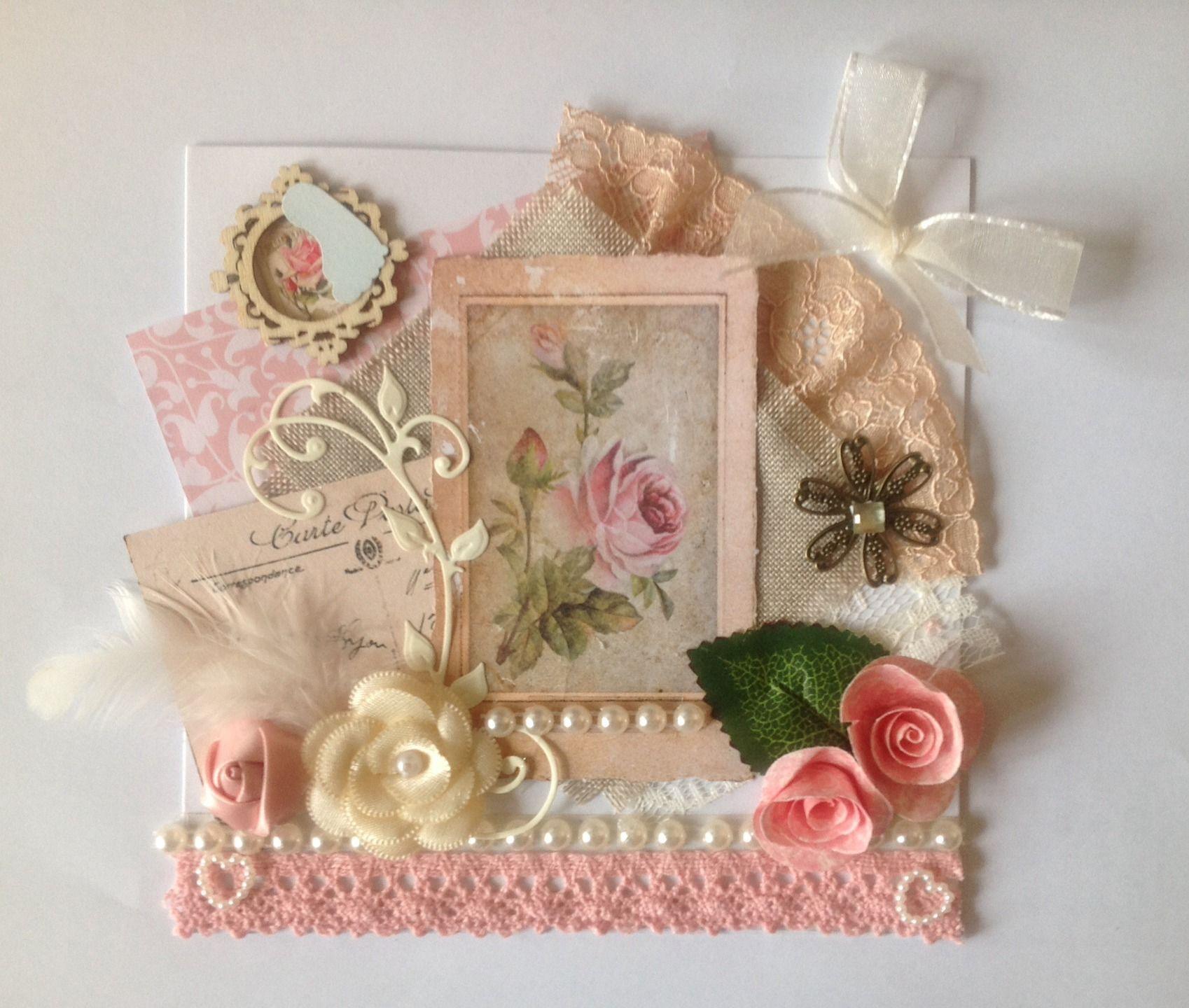 Carte Fete Des M Res Anniversaire Femme 3d Faite Main Romantique Shabby Chic Vintage Bouquet De