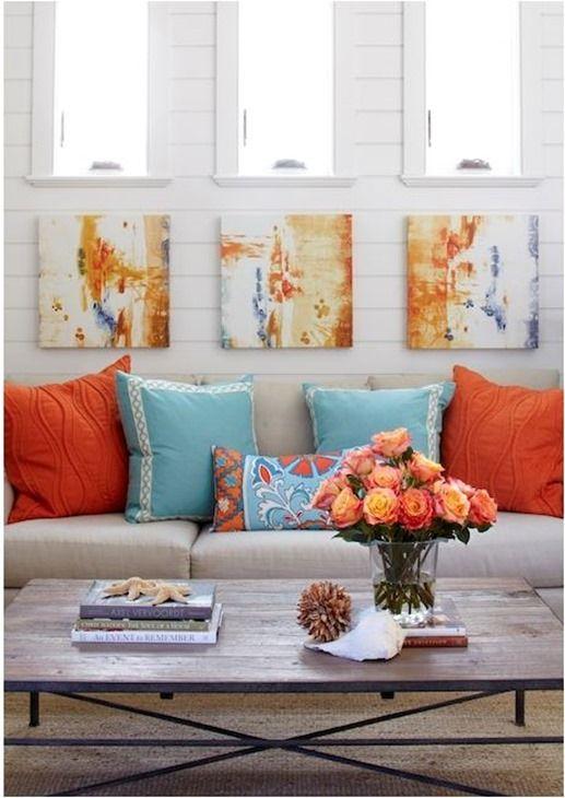 Decorating with orange color at work living room - Orange and blue decor ...