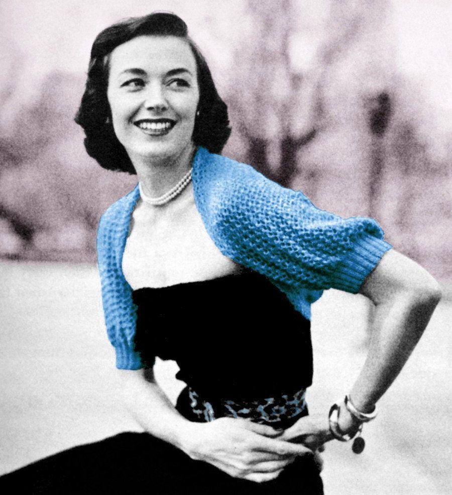 1950s Bolero Knitting Pattern Lacy Knit Shrug Puff Sleeve PDF. $3.00 ...