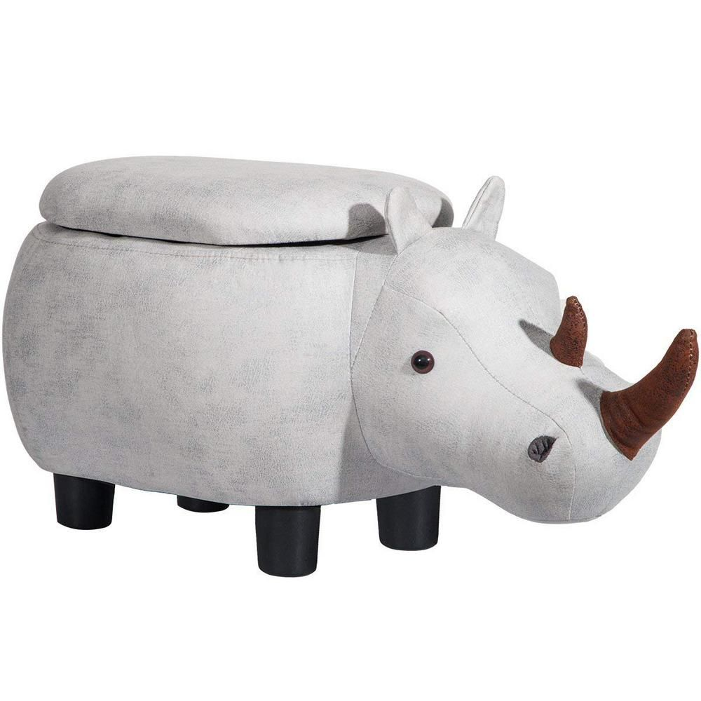 Merax Grey Rhinoceros Animal Storage Ottoman Footrest Stool