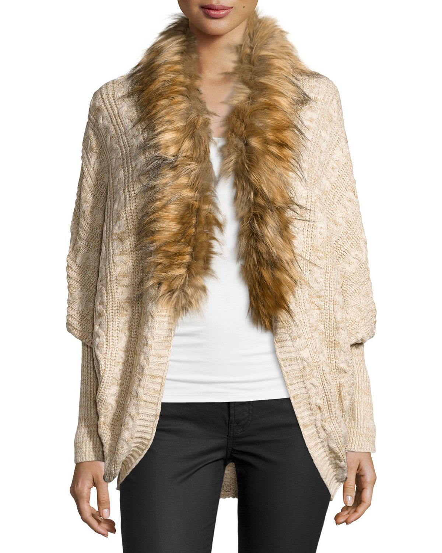 Neiman Marcus Faux-Fur-Trim Cocoon Cardigan, Natural, Women's, Size: XS, Tan