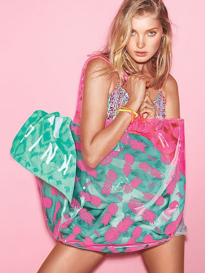 Cute VS Pink plastic Beach Tote Bag | Summer lovin' | Pinterest ...
