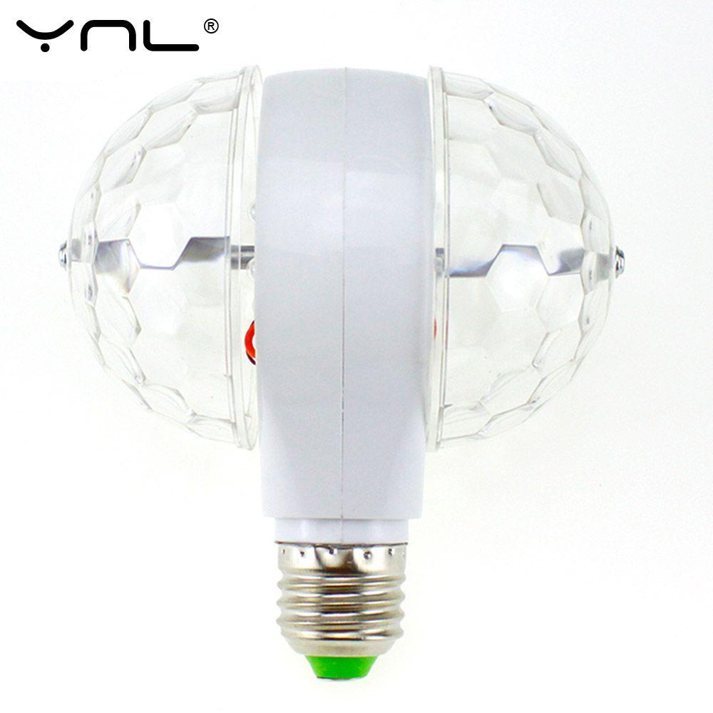 Ynl Lampada Led Lamp E27 6w 85 265v Colorful Auto Rotating Rgb Bulb Crystal Stage Light Magic Double Balls Dj Par Commercial Lighting Stage Lighting Light Bulb