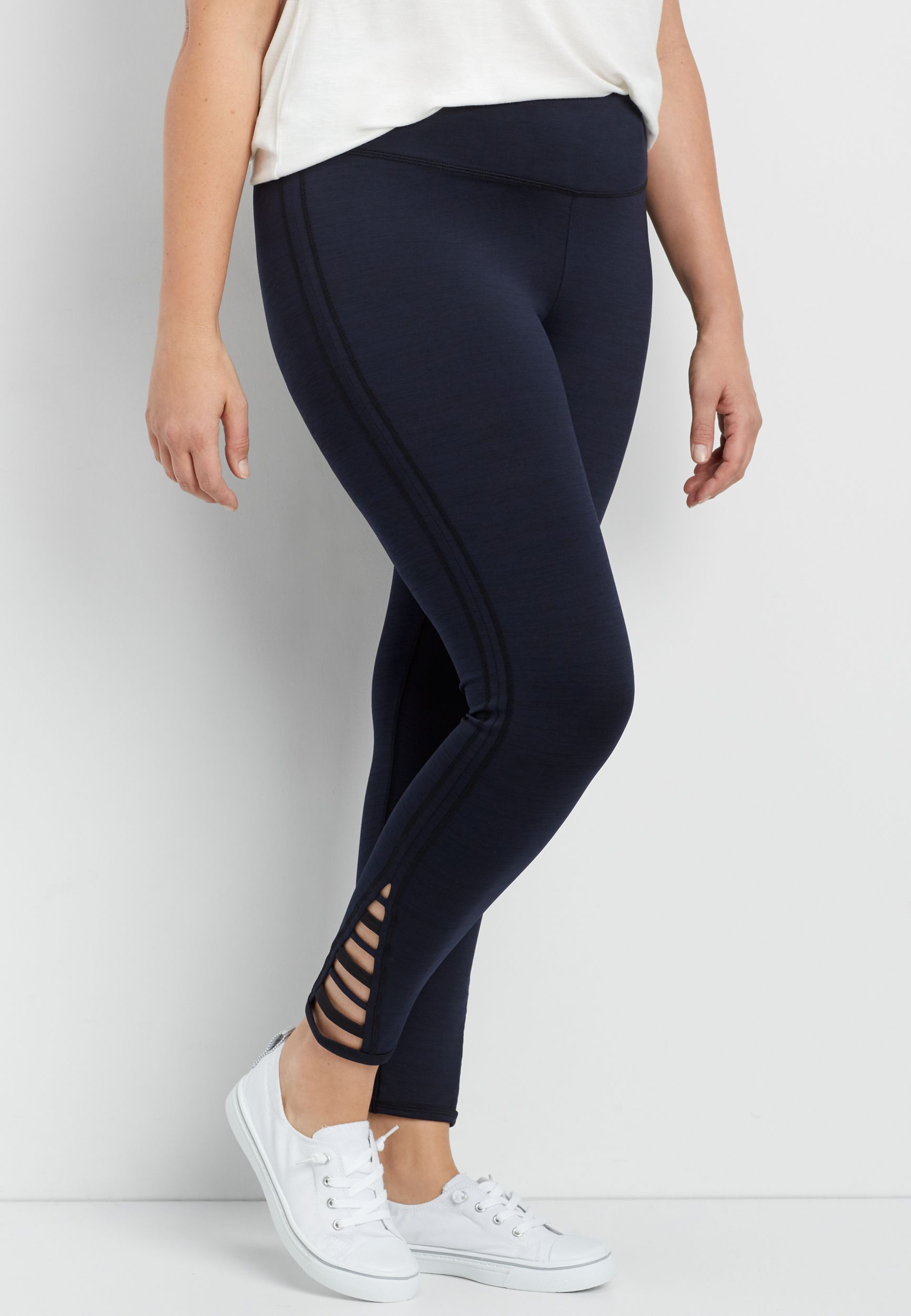 42f7c4be8da35f plus size spacedye 7/8 legging with strappy hem (original price, $34.00)  available at #Maurices